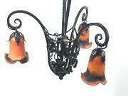 Art Deco Chandelier With Glass Shades In Style Of Nics Frères And Degué [5581]