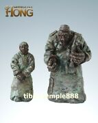 33 Cm Western Art Deco Pure Bronze Old Man Women Old Couple Abstract Sculpture