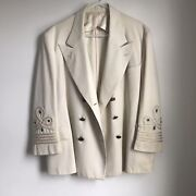 Vintage Us Navy Blazer Cream Nautical Anchor Buttons 1940 Mens 44 S.appel Wwii