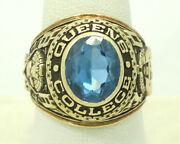 14k Yellow Gold Blue Spinel Queens College 1970 Class Ring Size 9 22.7g M1446
