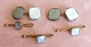 Antique Art Deco 14 K Gold And Mother Of Pearl Cufflink And Shirt Stud Set