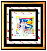 Peter Max Original Painting Pop Art Sage With Cane Rare Acrylic And Pastel Signed