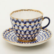 Cobalt Net Coffee Cup And Saucer By Imperial Porcelain Russian Lomonosov Lfz Ifz
