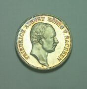 Germany Saxony 1914 2 Mark Silver Proof Very Nice Color