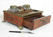 Antique French Boulle Ink Stand W/ Cut Glass Bottles