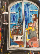 Fantastic Unframed Colourful Window To Paris Abstract Painting Canvas Painting