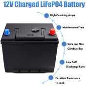 1500cca 12v 60ah Lifepo4 Battery Lithium-iron Phosphate For Rv Car Boat Black