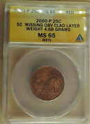 2000-p South Carolina Quarter Reverse Missing Clad Layer Anacs Ms65 Red