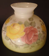 New 10 Opal Glass Student Oil Lamp Shade Hand Painted Victorian Roses Scene Usa
