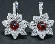 2.16ct Natural Round Diamond 14k Solid White Gold Ruby Gemstone Hoops Earring
