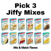 Pick 3 Jiffy Mix Boxes Biscuit Brownie Cake Muffin Pie Or Pizza Crust Mix