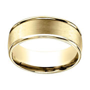 14k Yellow Gold 8mm Comfort Fit Satin Finish Round Edge Carved Band Ring Sz 13
