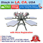 6 Color 6 Station Silk Screen Printing Press Machine With Micro Registration Diy