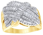 1.00 Ct Baguette And Round Cut Diamond Multi Row Crossover Ring In 10k Yellow Gold