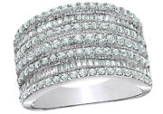 1 Ct Round And Baguette Diamond Multi Row Engagement Ring In 10k White Gold