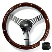 14 Black Banjo Steering Wheel, Wood W/ Aluminum, Chevy Horn Button, Adapter