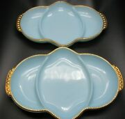 Fire-king Oven Ware Divided Serving Tray Delphite Blue Relish Dishes Two Dishes