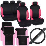 14pc Interior Full Set Car Seat Cover, Mat And Steering Wheel Cover - Black / Pink