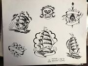 Vintage 1976 Rare Picture Machine B And W Hand Stamped Tattoo Flash Sheet 132