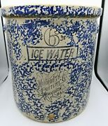 Rare Old Sponge Ware Monmouth Pottery Co Ice Water 6 Gal. Crock Monmouth, Ill