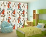 3d Magpie Hat Red G34 Christmas Window Photo Curtain Fabric Quality An
