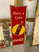 Vintage 1948 Coca-cola Metal Vertical Bottle Sign Gas Station Country Store Oil