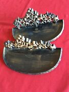 """Pair Vintage Home Interior Gold /black 2 Wall Shelves 9-3/4"""" Long, 4-1/4""""  Uos"""
