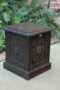 Antique English Coal Hod Scuttle Fireplace Hearth Carved Oak End Table 19th C