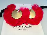 Kate Spade Gold Tone And Red In Full Feather Earrings Nwt
