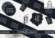 Black Silver 40th Birthday Party Supplies Tableware And Decorations Glitz Age 40