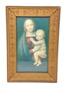 Antique Madonna And Child Raphael Religious Print In Carved Wood Gilt Frame