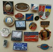 Set Of 17 Different Russian Ussr Soviet Space Program Cosmos Pin Badge. Lot