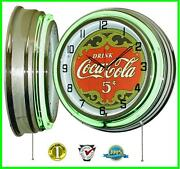 Drink Coca-cola 5 Cents Vintage Sign Green Double Neon Clock Home Decor 19