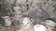 Vintage Lefton China Snack/tea Set 25 Pieces Hand Painted Wheat Pattern 2768