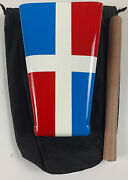 Hand Held Cowbell Painted Colors Of Dominican Republic Flag With Cowbell Pouch
