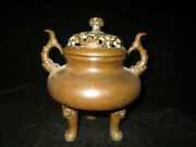 Rare China Collection Copper Three Legs With Lid Two Ears Incense Burner Censer
