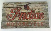 Indian Motorcycles Distressed Wood Sign - Vintage Style W/ Red Script