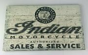Indian Motorcycles Sales And Service Sign Vintage Style W/ Distressed Wood