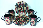 Fitz And Floyd Hopi 424 Dessert Salad Plates 7.5 And Cups 4 Sets Gold Trim