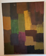 Modern Abstract Orig. Painting Signed By Patty Murphy 1971 Palm Springs Estate