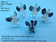 5 Pc Hand Blown/crafted Glass Elephants Made In Us-louisiana