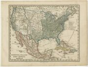 Antique Map Of The United States And Mexico By Stieler C.1860