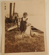 Vintage Black And White Photograph Boy Holding Up Fish That He Caught 1930's