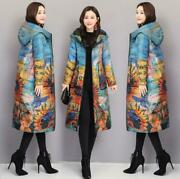 Winter Ladies Vintage Long Floral Down Parka Coat Trench Hooded Warm Jackets 5xl