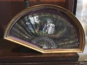 French Circa 1830and039s Hand Painted Watercolor Womanand039s Romantic Era Folding Fan