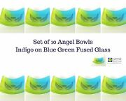 10 Fused Glass Blue Green Angel Bowls Ring Dish Tea Light Candle Holder Party