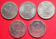 France Five Very Collectable 2 Franc Vintage Coins 1979 -1983 All Good Grades