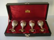 Vintage Corbell And Co. Silver Plated Cordial Liqueur Glasses 4 And Lined Case