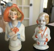 Two Antique Bisque Half Dolls - French Style Made In Japan
