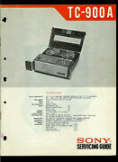Sony Tc-900a Reel To Reel Tape Deck Original Factory Service Manual Guide
